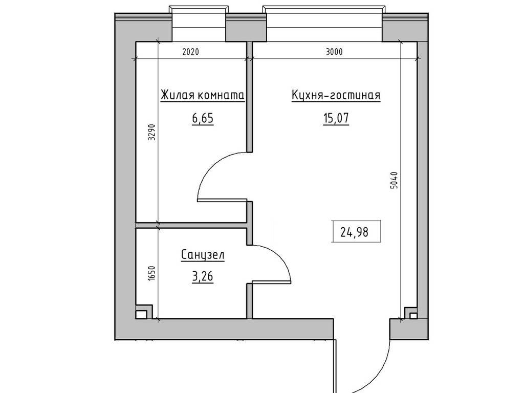 1-комнатная квартира, 24.98 м2, 17785 у.е.