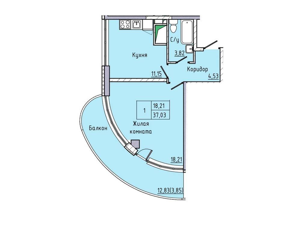 1-комнатная квартира, 42.00 м2, 68000 у.е.