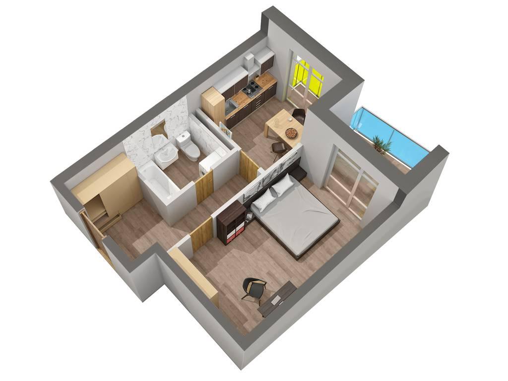 1-комнатная квартира, 39.59 м2, 35395 у.е.
