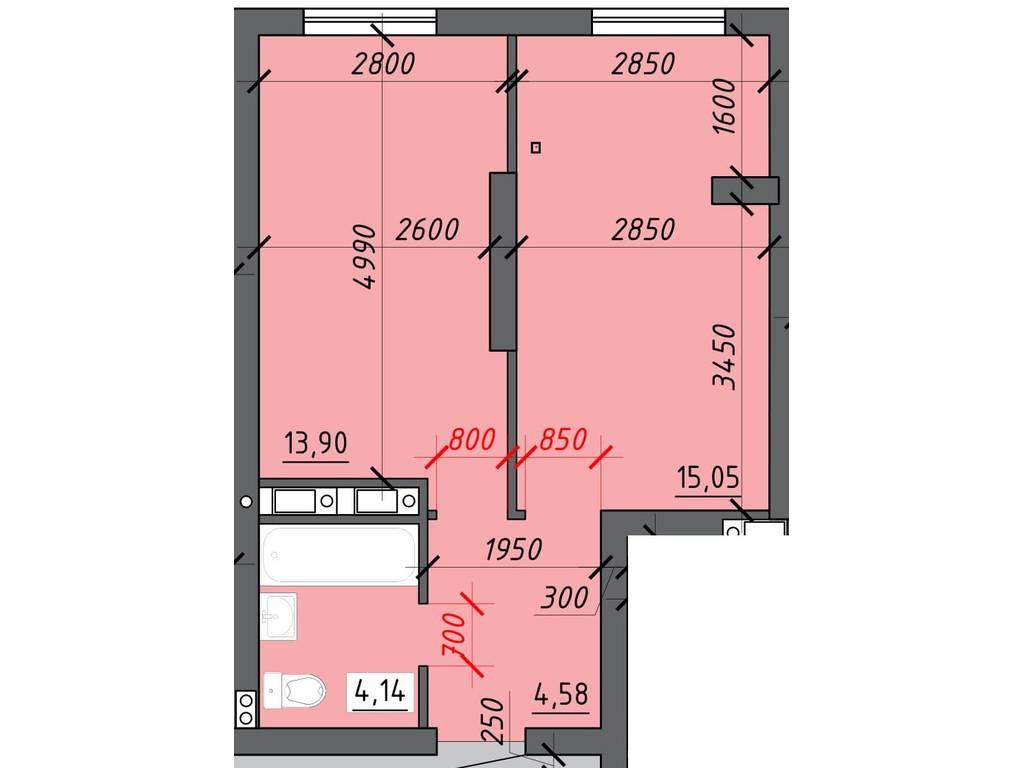 1-комнатная квартира, 38.20 м2, 26775 у.е.