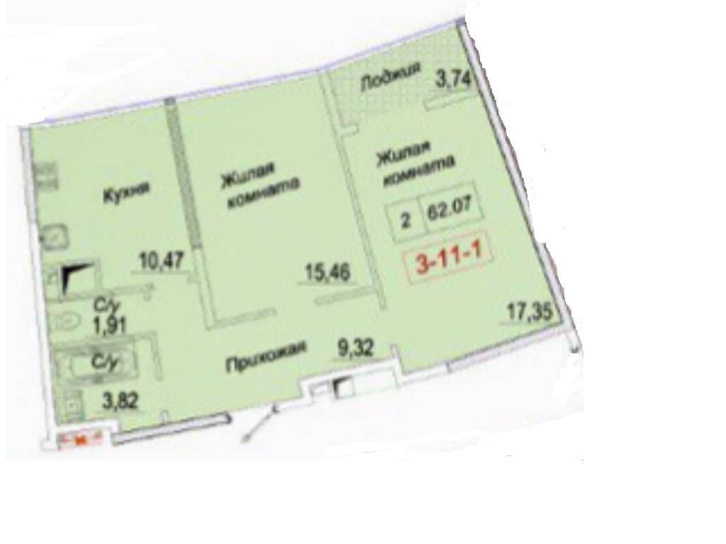 2-комнатная квартира, 60.00 м2, 97000 у.е.