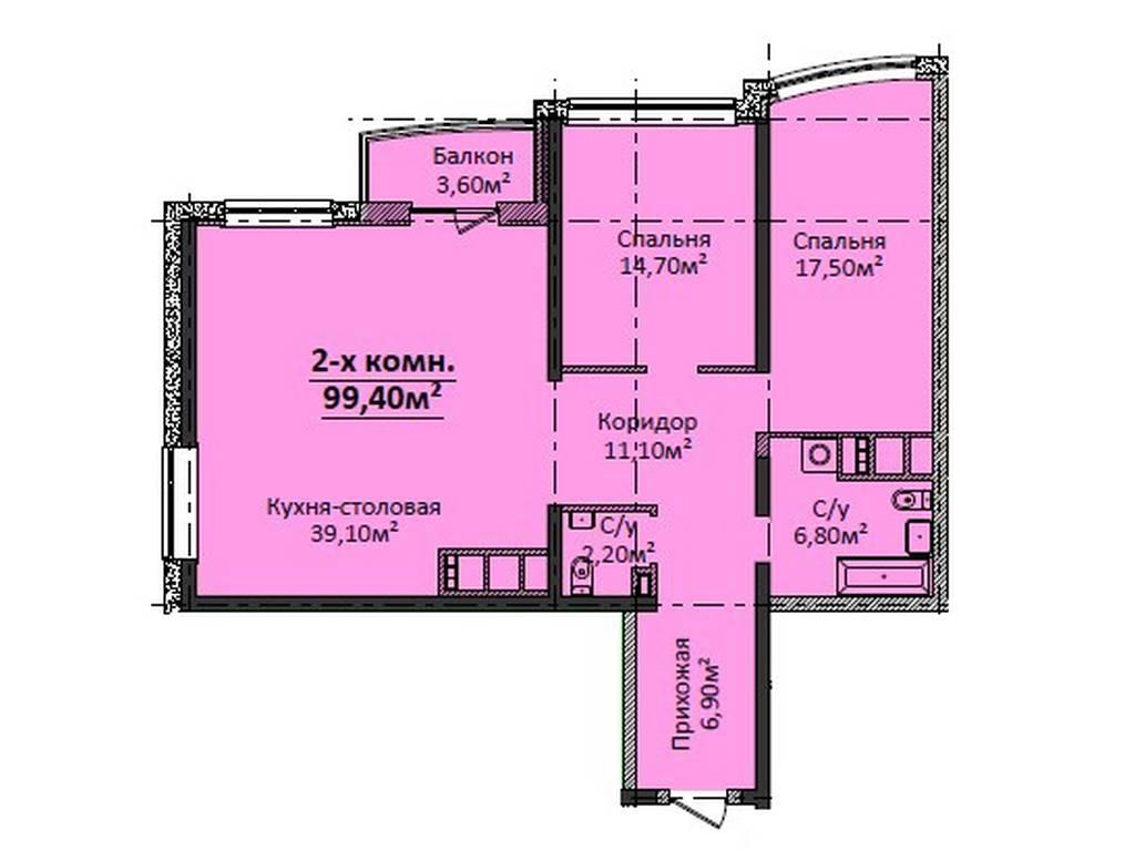 2-комнатная квартира, 99.40 м2, 100000 у.е.