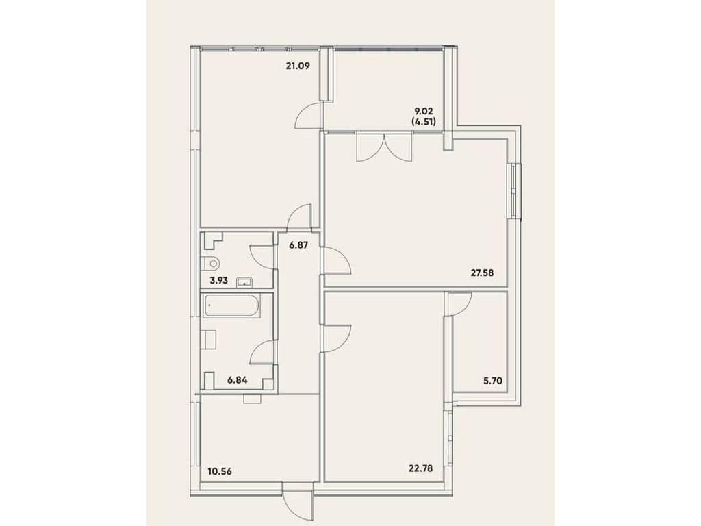 2-комнатная квартира, 109.86 м2, 175776 у.е.