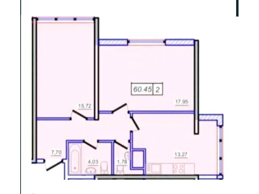 2-комнатная квартира, 60.00 м2, 47500 у.е.