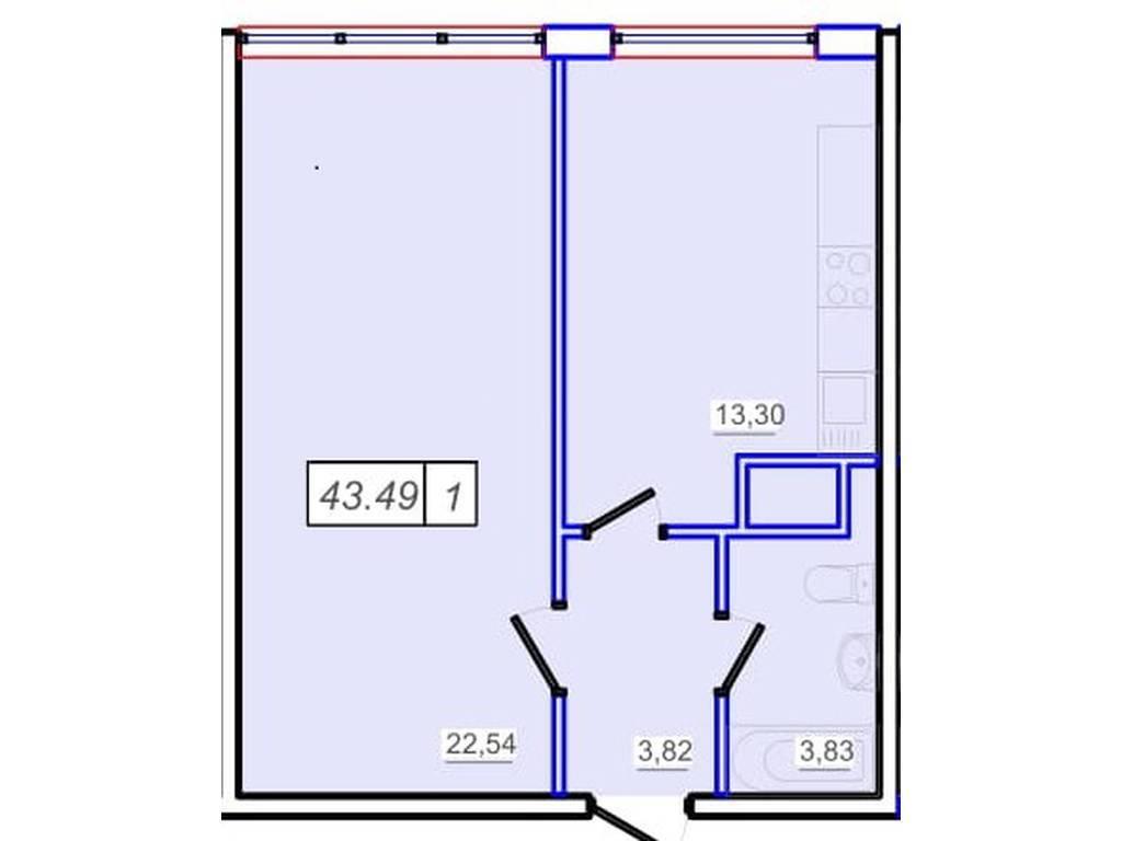 1-комнатная квартира, 43.50 м2, 33000 у.е.