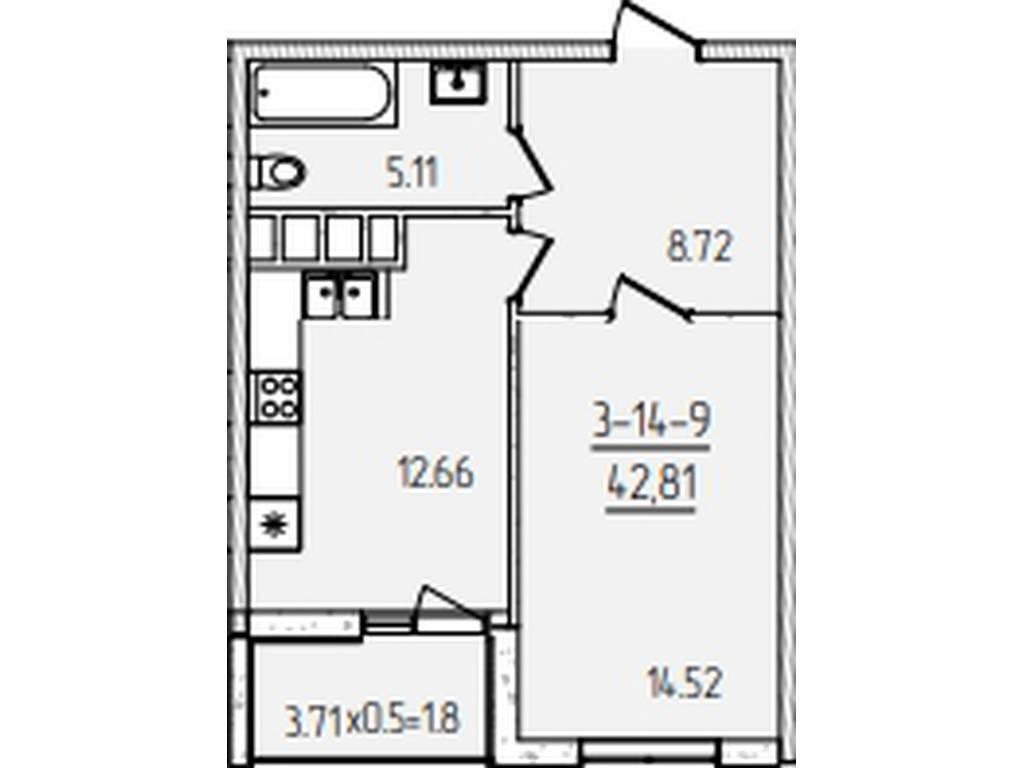 1-комнатная квартира, 42.81 м2, 36500 у.е.
