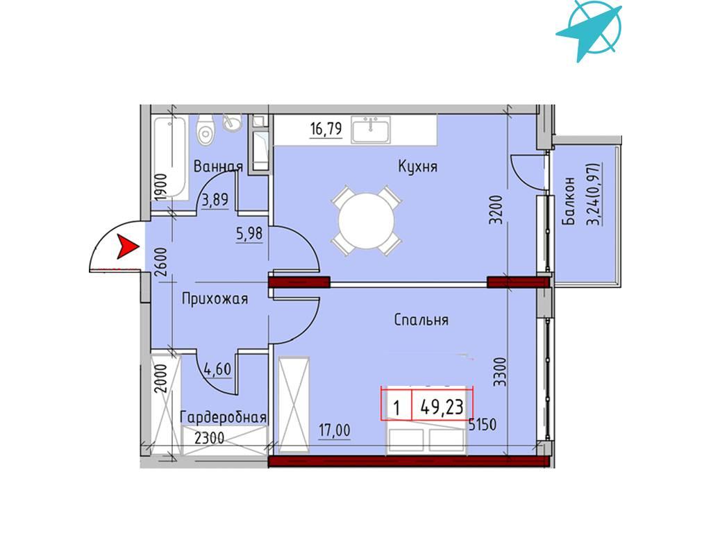 1-комнатная квартира, 49.20 м2, 58091 у.е.