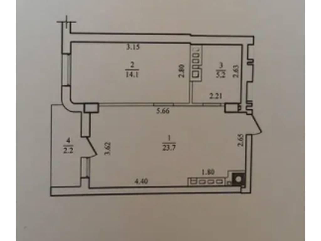 1-комнатная квартира, 43.00 м2, 117000 у.е.