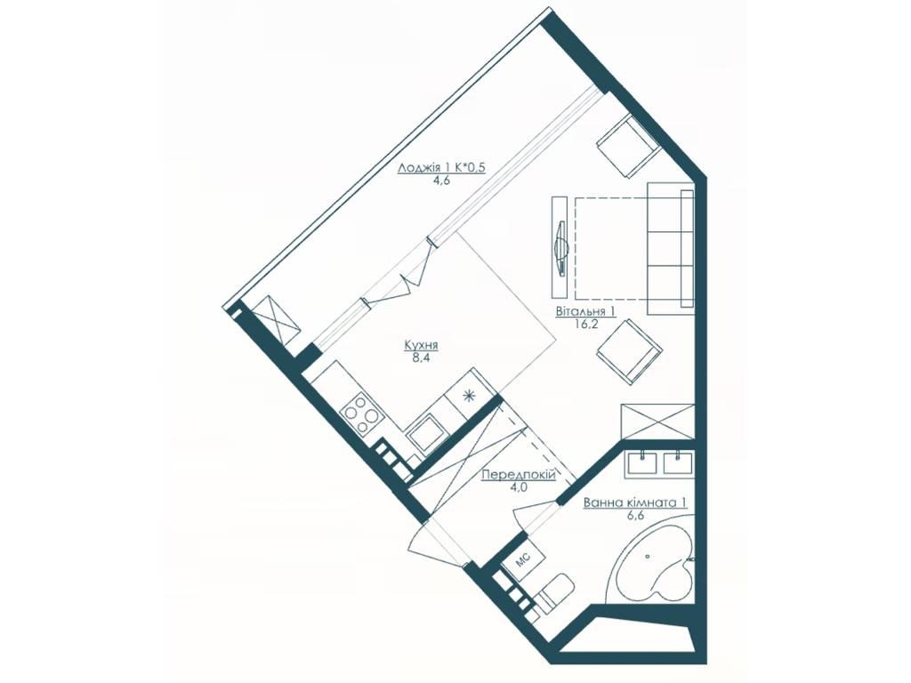 1-комнатная квартира, 39.80 м2, 56000 у.е.