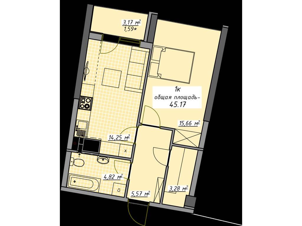 1-комнатная квартира, 45.17 м2, 45170 у.е.