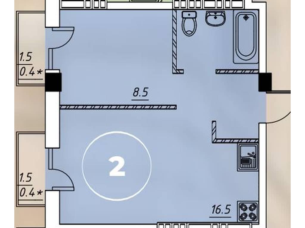 1-комнатная квартира, 32.60 м2, 27000 у.е.