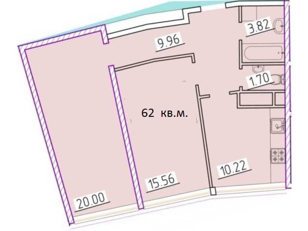 2-комнатная квартира, 62.00 м2, 65000 у.е.