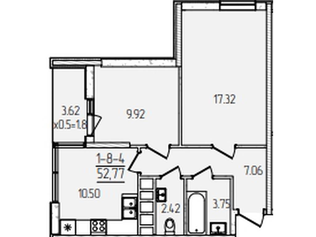 2-комнатная квартира, 52.77 м2, 44900 у.е.