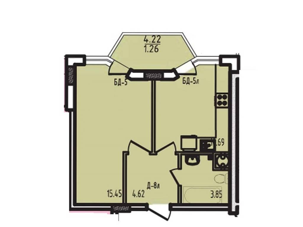 1-комнатная квартира, 38.00 м2, 35500 у.е.