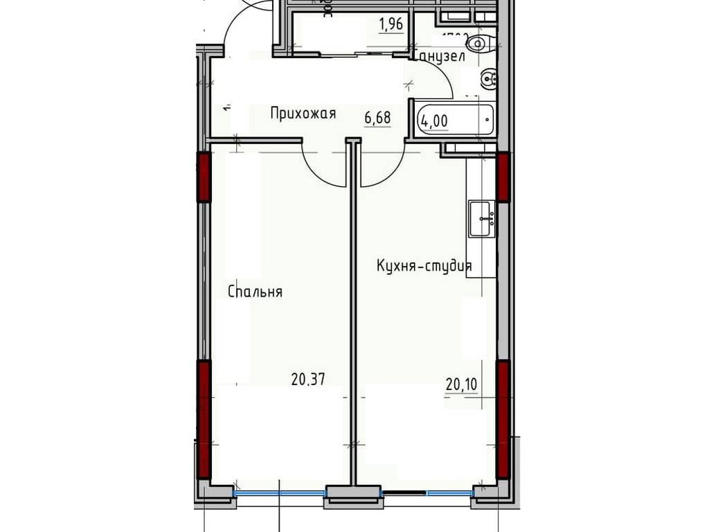 1-комнатная квартира, 51.96 м2, 55765 у.е.