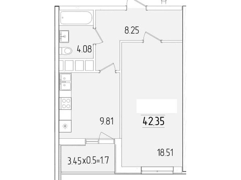 1-комнатная квартира, 42.35 м2, 39385 у.е.