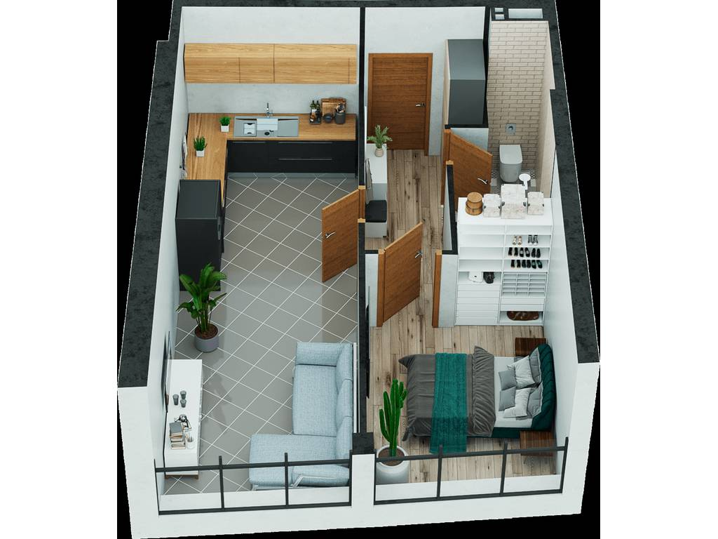 1-комнатная квартира, 48.22 м2, 45299 у.е.