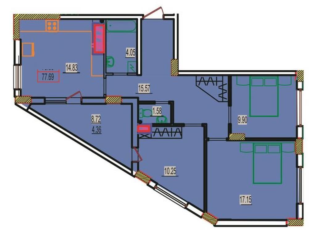 3-комнатная квартира, 78.80 м2, 47280 у.е.