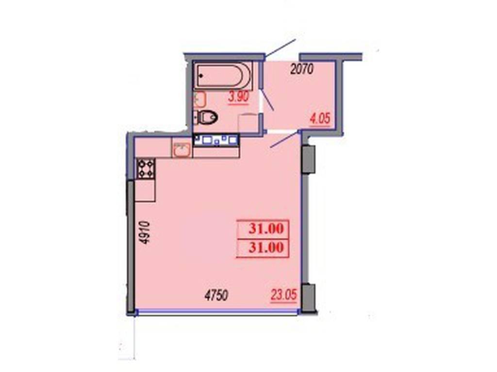 1-комнатная квартира, 31.00 м2, 34875 у.е.
