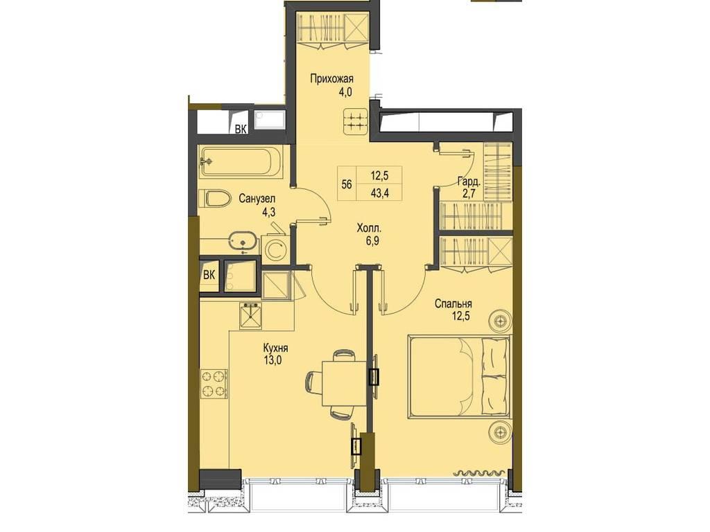 1-комнатная квартира, 43.40 м2, 65100 у.е.