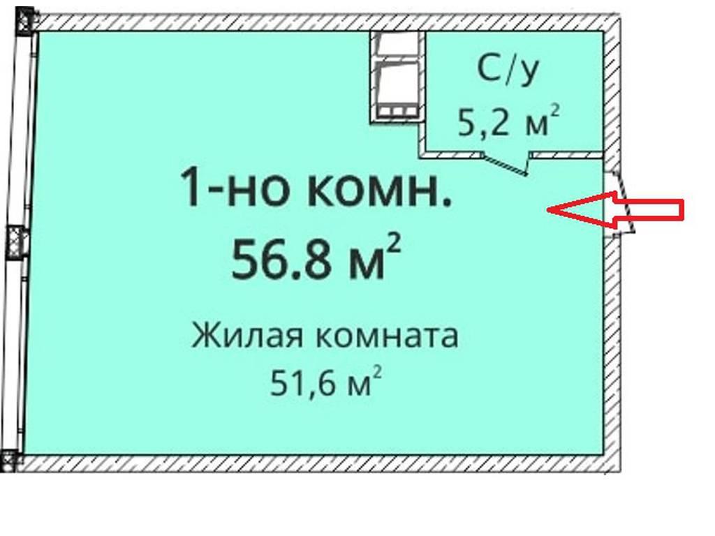 1-комнатная квартира, 57.00 м2, 64000 у.е.