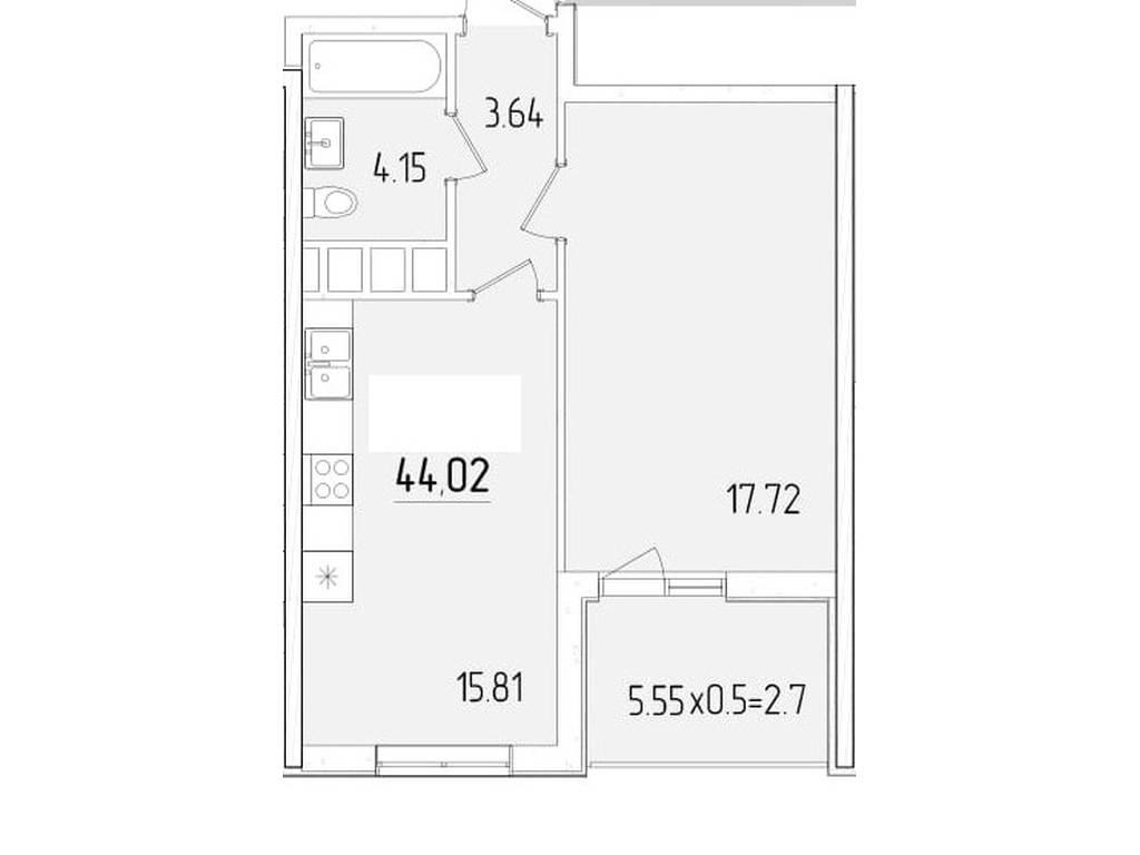 1-комнатная квартира, 44.02 м2, 38605 у.е.