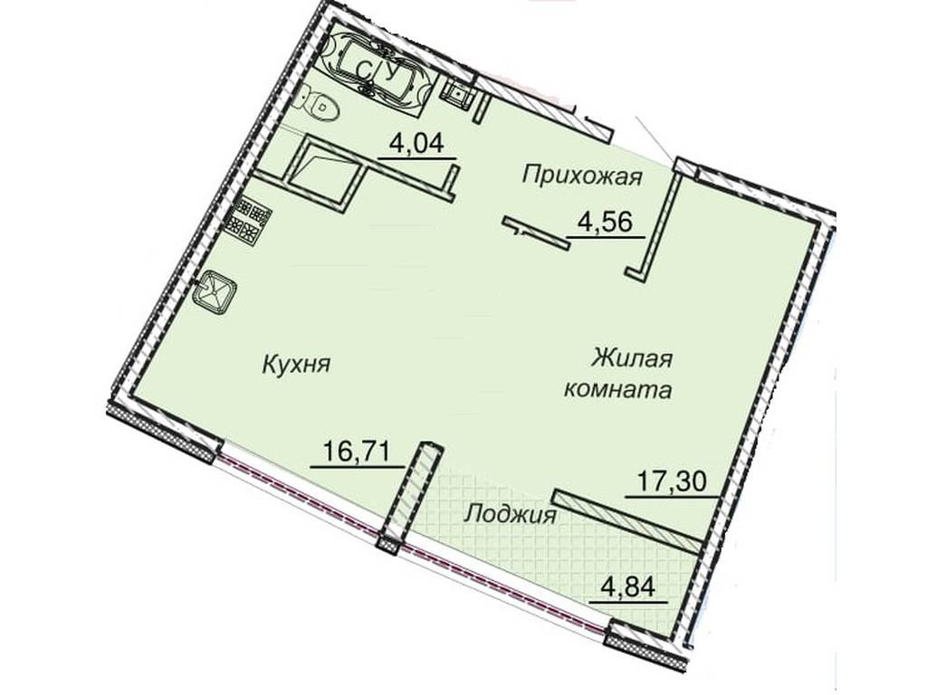 1-комнатная квартира, 48.50 м2, 79000 у.е.