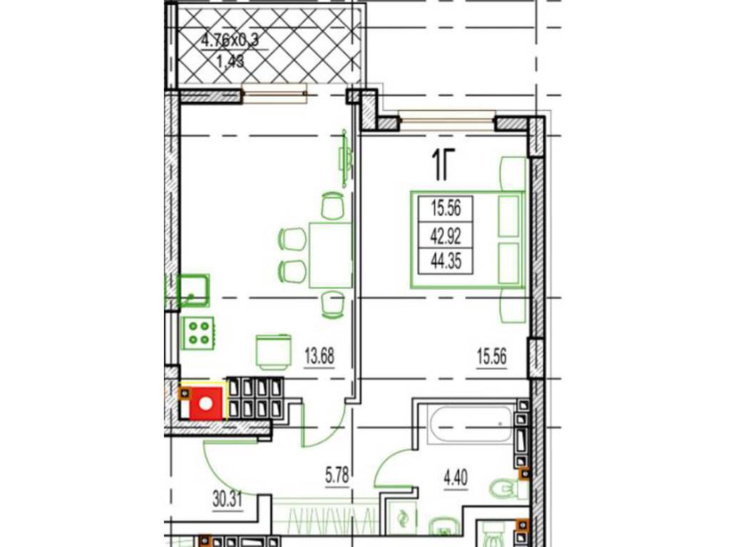 1-комнатная квартира, 46.15 м2, 41000 у.е.