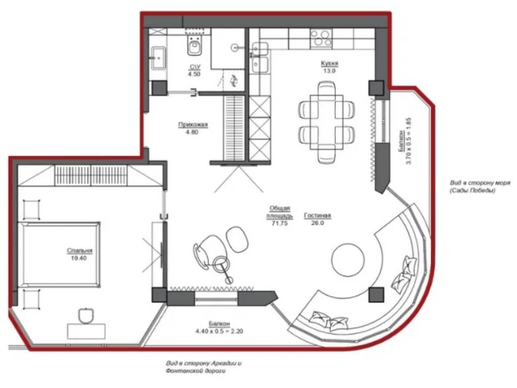 2-комнатная квартира, 78.00 м2, 72000 у.е.