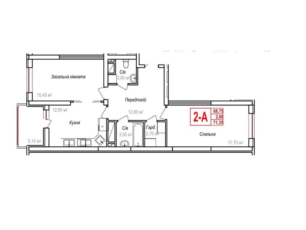 2-комнатная квартира, 72.40 м2, 52850 у.е.