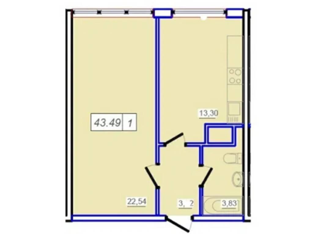 1-комнатная квартира, 43.49 м2, 30500 у.е.