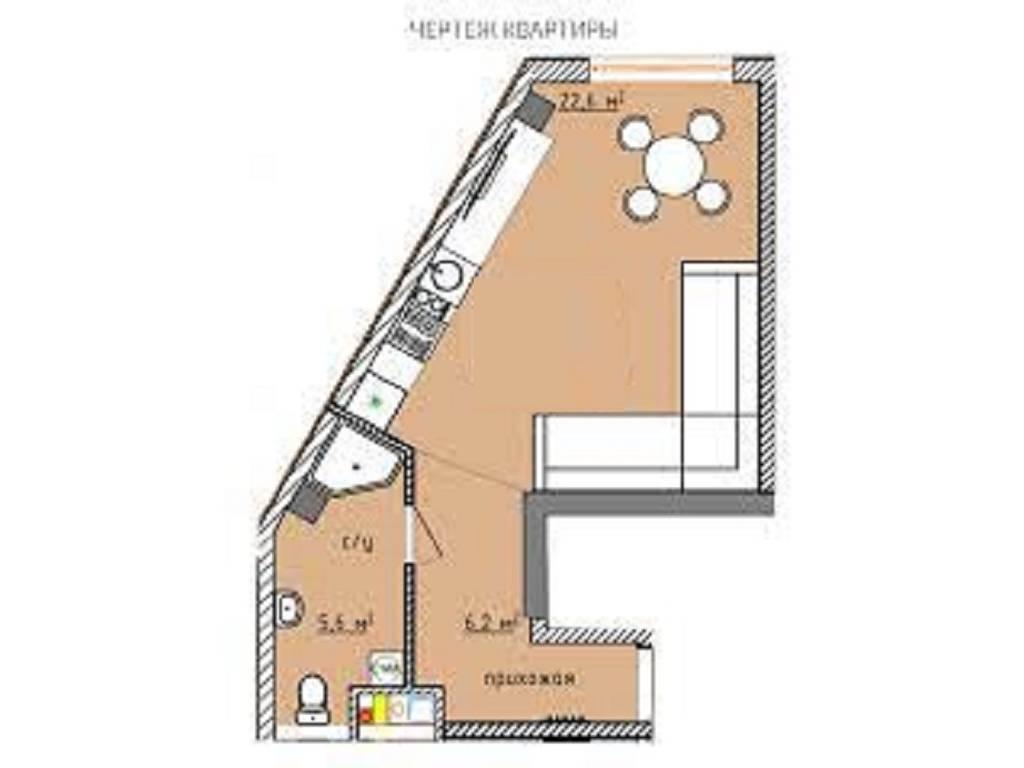 1-комнатная квартира, 42.20 м2, 37800 у.е.