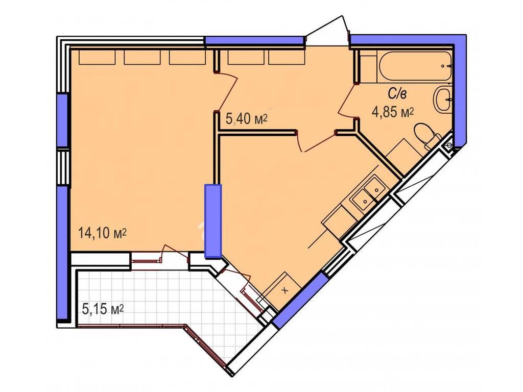 1-комнатная квартира, 37.35 м2, 29880 у.е.