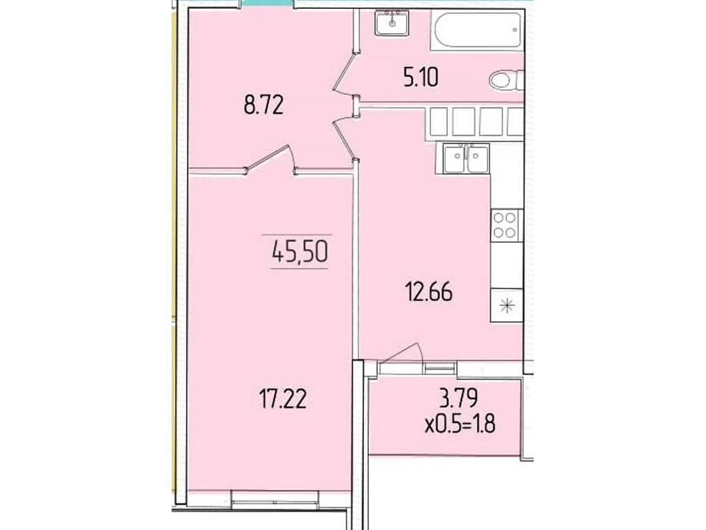 1-комнатная квартира, 45.50 м2, 38902 у.е.