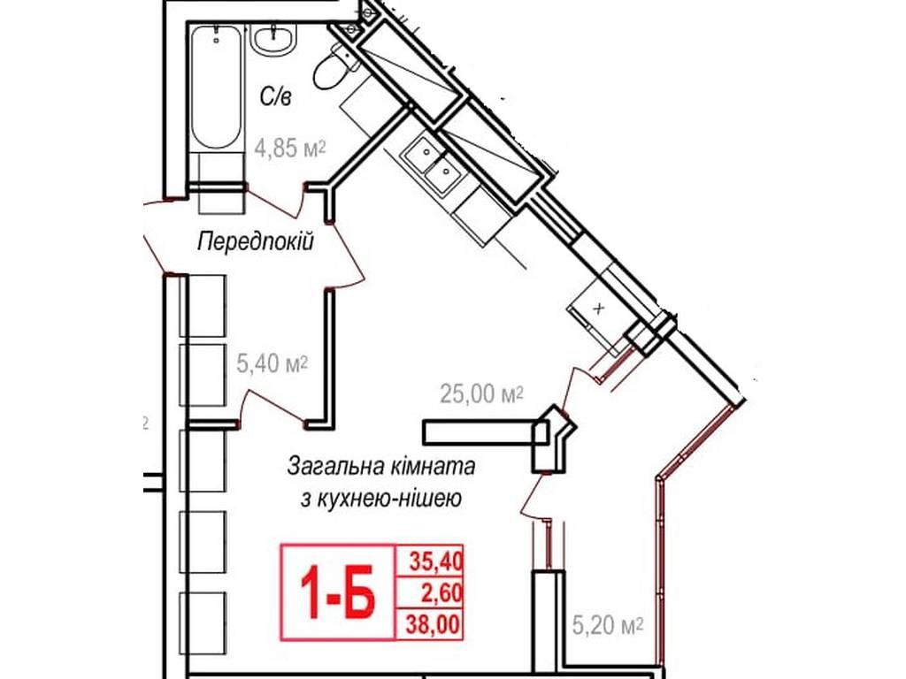 1-комнатная квартира, 38.00 м2, 28500 у.е.
