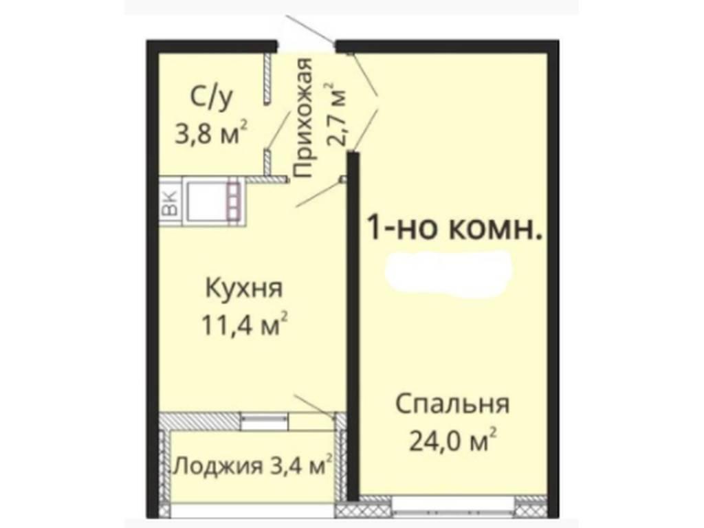 1-комнатная квартира, 45.00 м2, 36500 у.е.