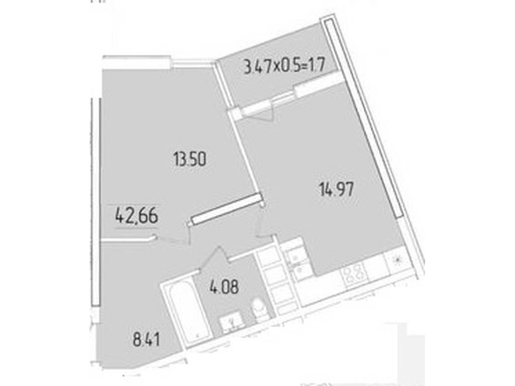 1-комнатная квартира, 42.66 м2, 38000 у.е.