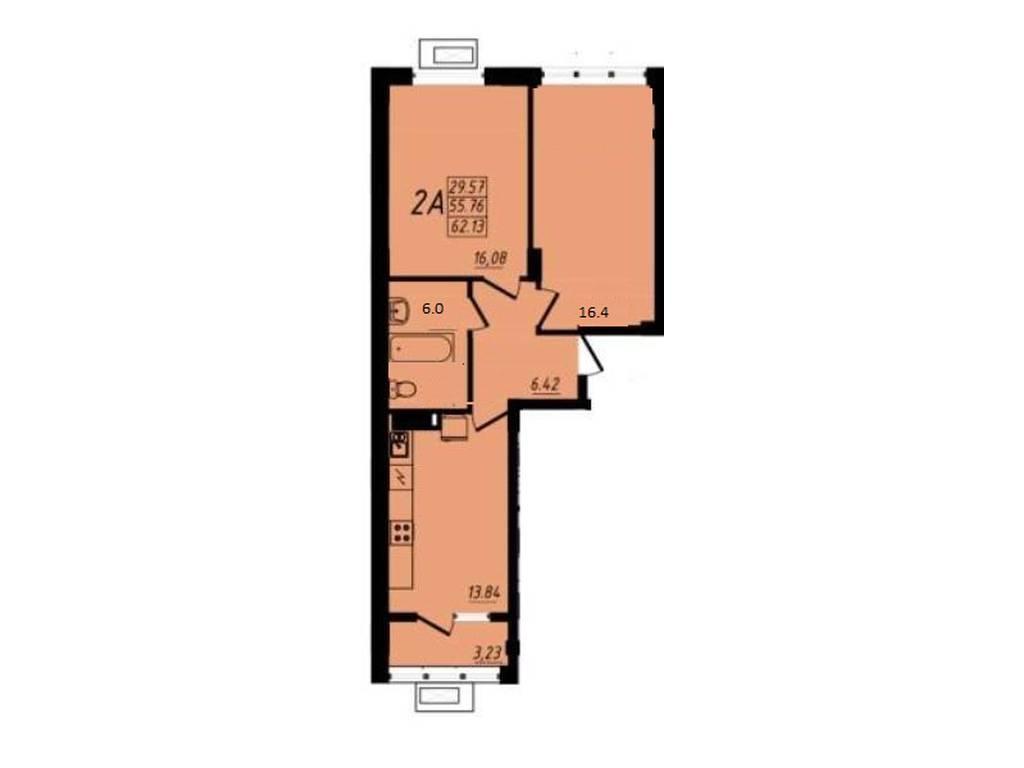 2-комнатная квартира, 64.00 м2, 61990 у.е.