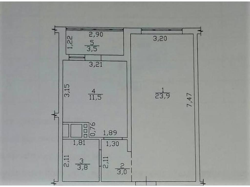 1-комнатная квартира, 45.70 м2, 57500 у.е.
