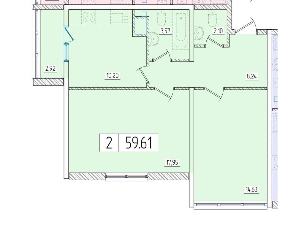 2-комнатная квартира, 60.00 м2, 58000 у.е.