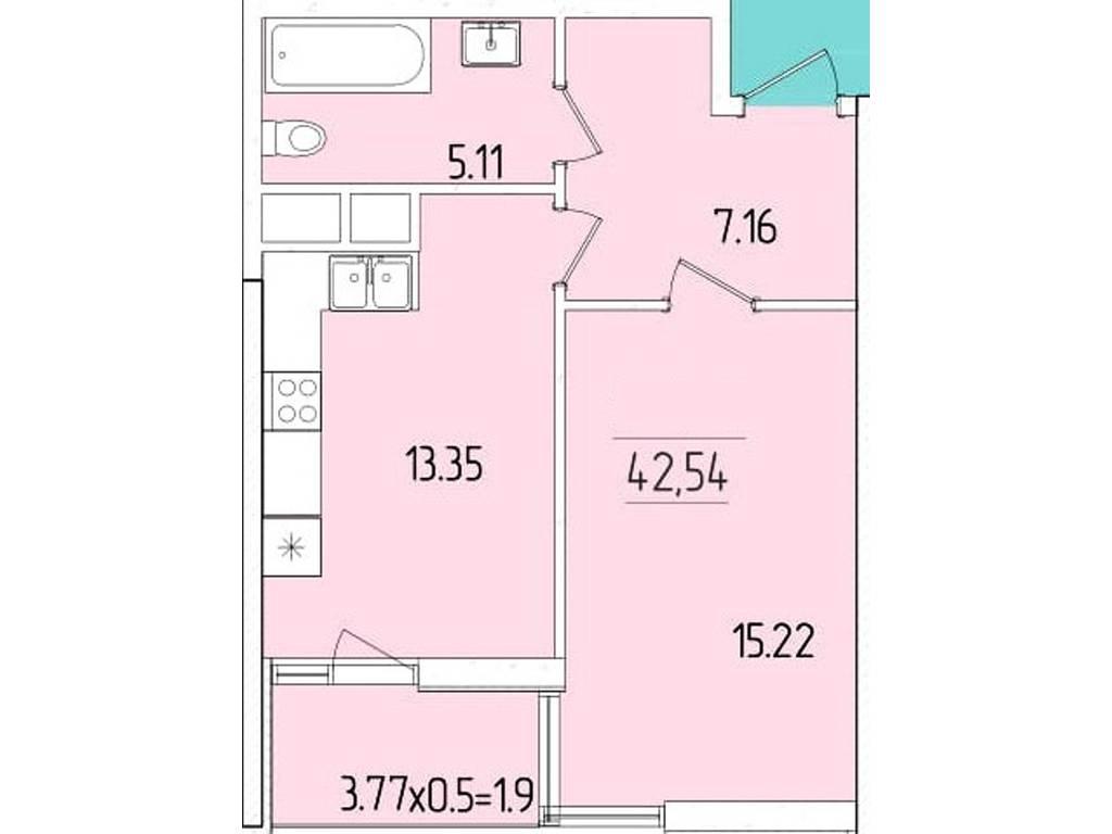 1-комнатная квартира, 42.54 м2, 36371 у.е.