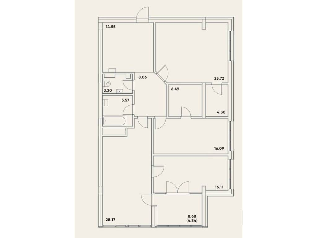 3-комнатная квартира, 133.45 м2, 188862 у.е.