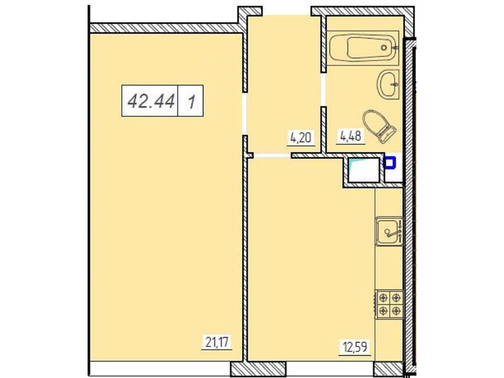 1-комнатная квартира, 42.40 м2, 46000 у.е.