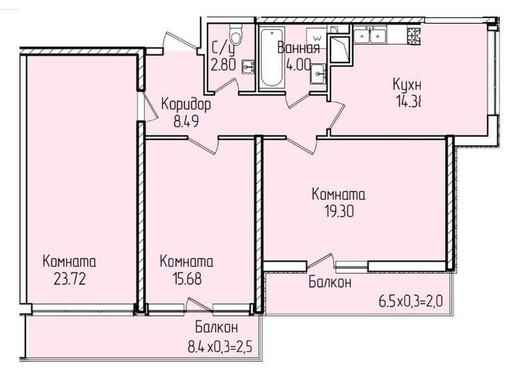 3-комнатная квартира, 90.90 м2, 101800 у.е.