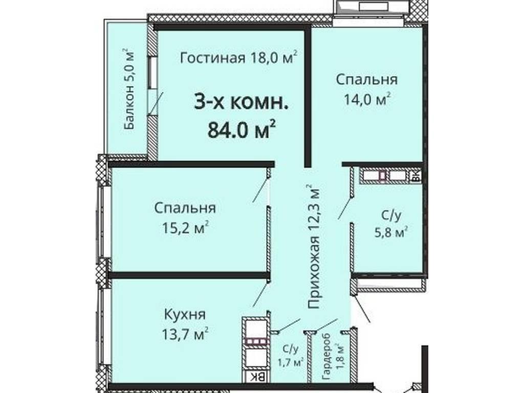 3-комнатная квартира, 84.00 м2, 77900 у.е.
