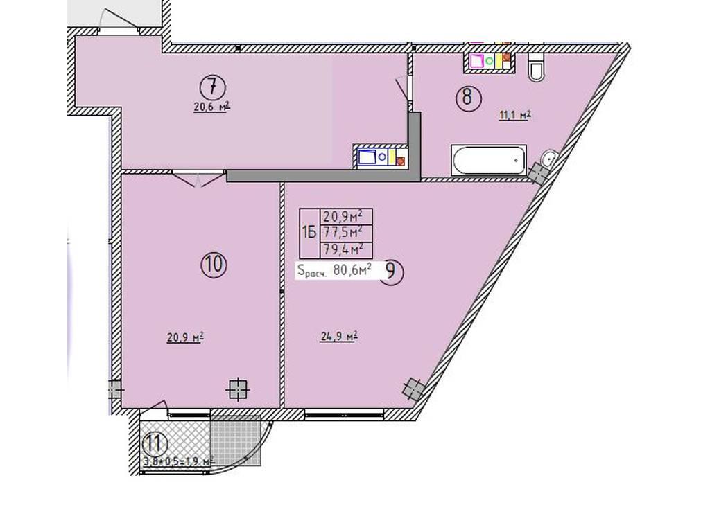 1-комнатная квартира, 75.00 м2, 60000 у.е.