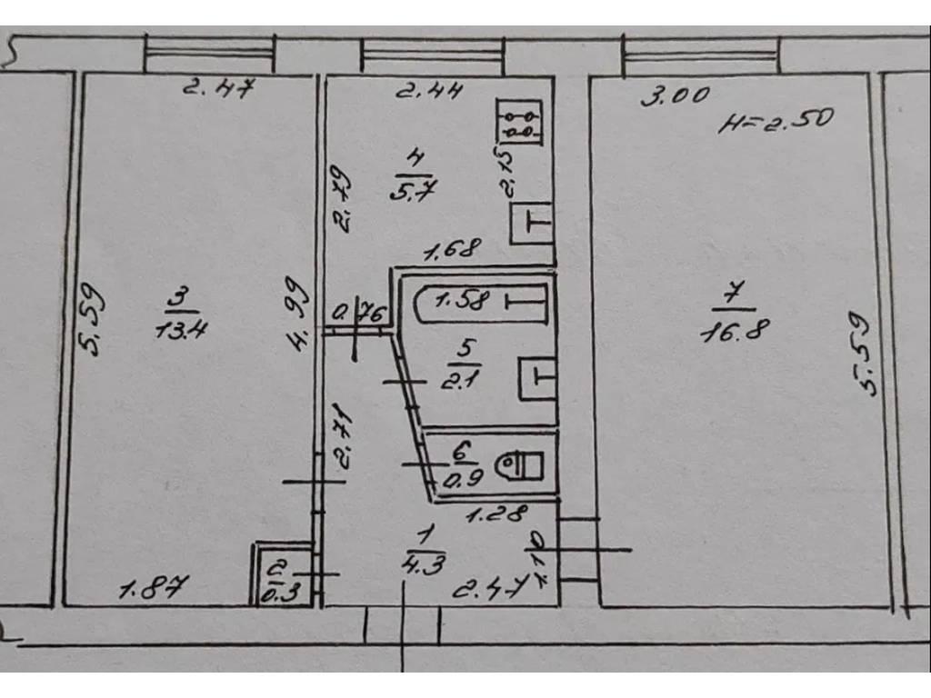 2-комнатная квартира, 43.00 м2, 28000 у.е.