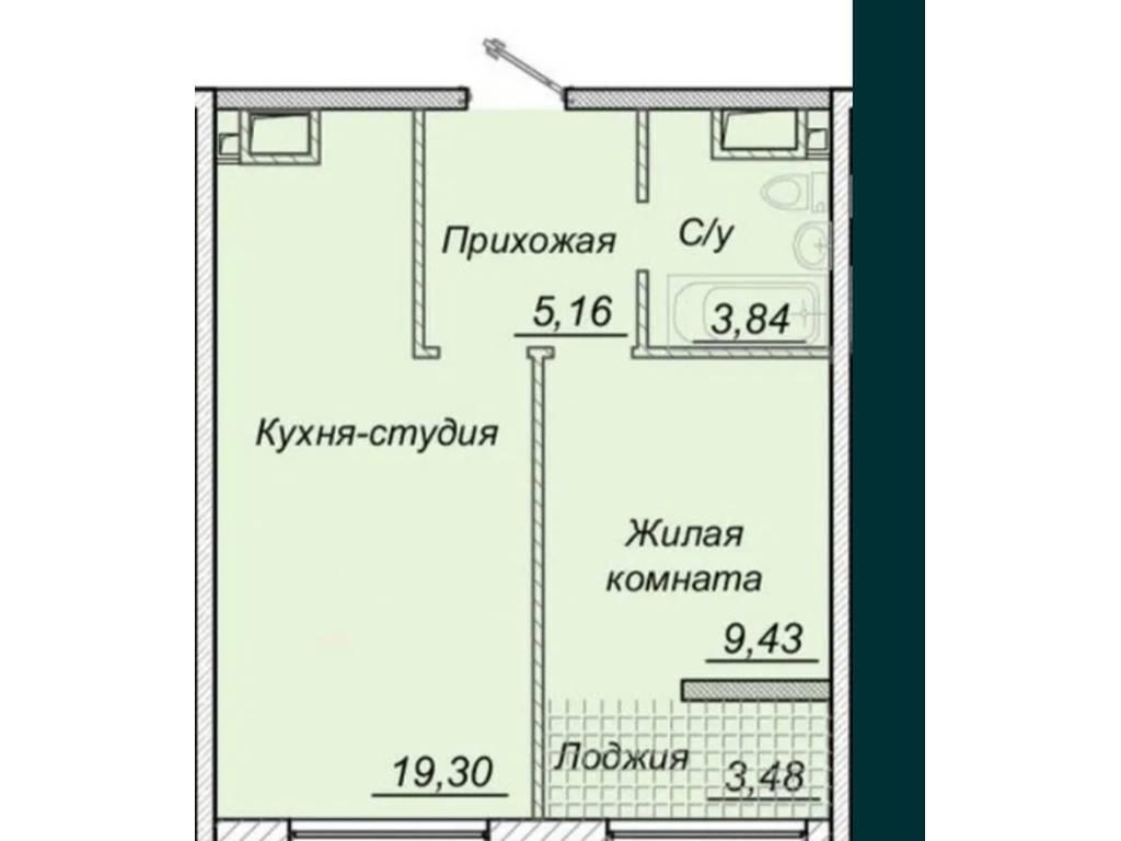 1-комнатная квартира, 42.00 м2, 52000 у.е.