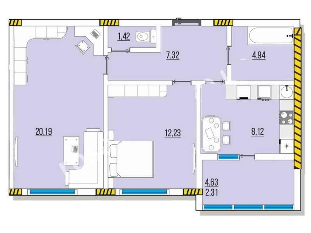 2-комнатная квартира, 57.46 м2, 29590 у.е.