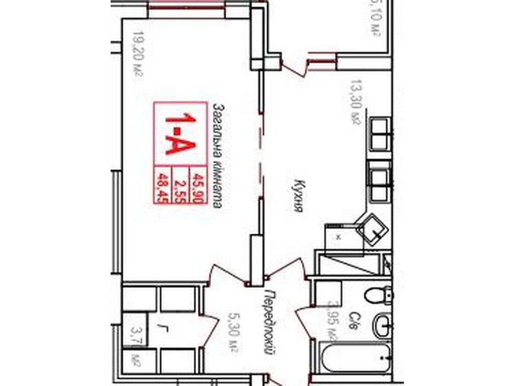 1-комнатная квартира, 45.95 м2, 36760 у.е.